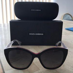 Dolce & Gabbana pink black clear cat eye sunnies